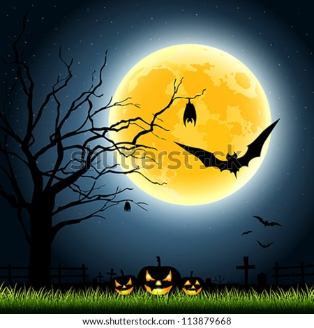 Halloween full moon party at night background, vector illustration - stock vector
