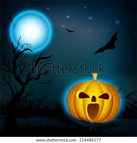 Halloween full moonlight night background with scary pumpkins, dead tree and flying bats. EPS 10.