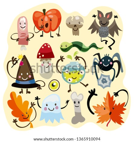 Halloween funny characters set. Hand drawn cute monsters. Spooky, finger, leaf, hat, pumpkin, mushroom. #1365910094