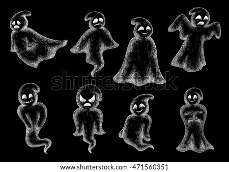 halloween funny ghosts chalk