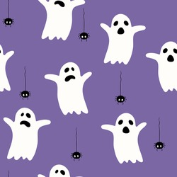 Halloween funny pattern with ghosts and spiders. Vector pattern for Halloween. Cartoon flat style. For wrapping paper, wallpaper, fabric design.