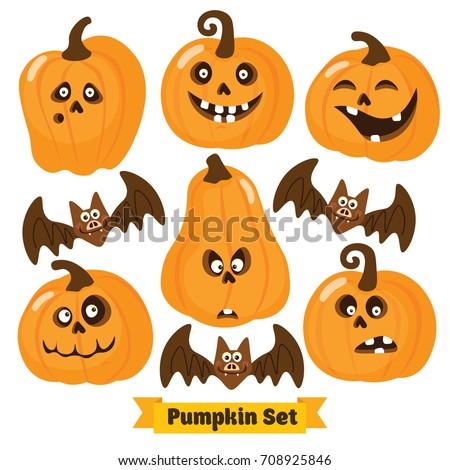 Halloween funny Pumpkin vector icons set. Simple flat style design. Halloween Pumpkin vector. Pumpkin head. Vector illustration. Child cartoon pumpkin