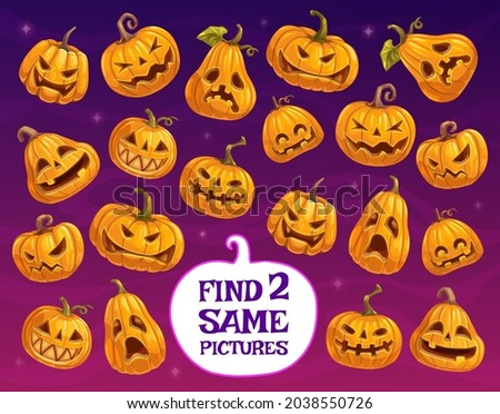 Halloween game or puzzle vector template of kids education design. Find two same pumpkin lanterns, memory game or matching riddle with Halloween horror holiday jack o lantern pumpkins with scary smile Foto stock ©