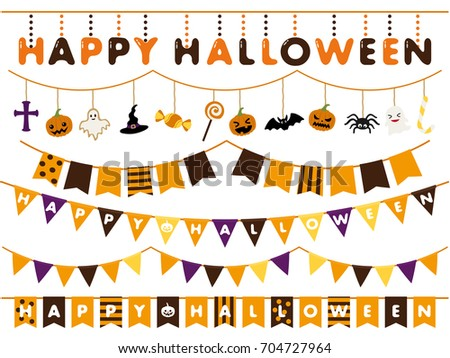 Halloween garland line vector illustration set
