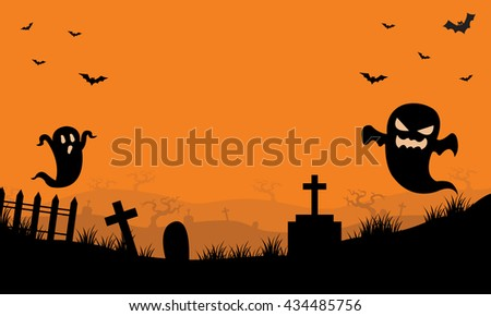 halloween ghost and bat in tomb