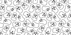 Halloween Ghost doodle vector Ghost icon seamless pattern wallpaper background