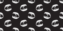 Halloween Ghost Dracula teeth evil Devil monster illustration seamless pattern icon wallpaper background