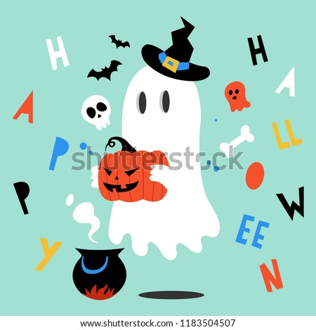 Halloween ghost. Halloween pumpkin. Vector illustration in a cartoon style. Elements for you Halloween. Vector illustration in a flat design. Vector illustration for Halloween.