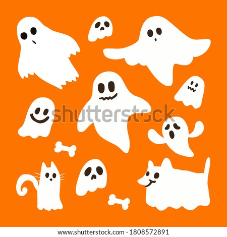 Halloween ghost set vector design. Cute funny ghosts and pet ghosts on orange background. cartoon style