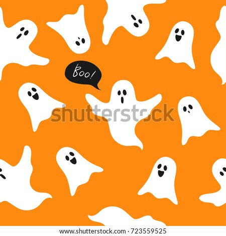 Halloween ghosts seamless pattern vector illustration, Boo! with cute cartoon ghosts on orange background.