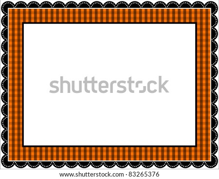Halloween Gingham Frame - Gingham patterned frame with scalloped border in Halloween black and orange