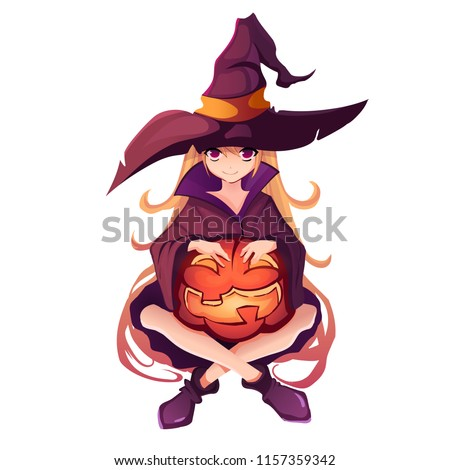 halloween girl in witch costume