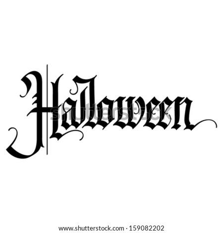 Halloween gothic calligraphic hand lettering