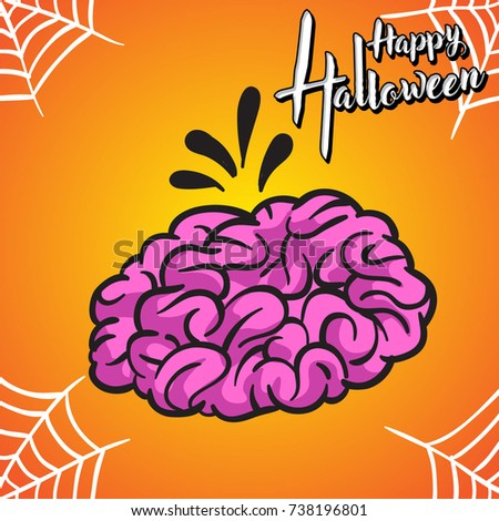 Halloween greeting card and brain background