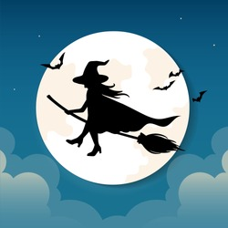 Halloween greeting card in paper cut style. Flying witch with a broom.