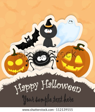 Halloween greeting card/invitation with pumpkins, spider, cat, ghost and a bat in paper style