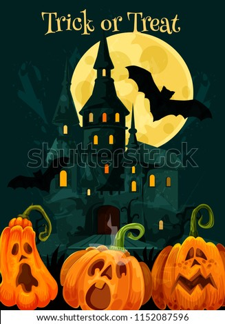 Halloween greeting card of pumpkin scary lantern for trick or treat October holiday party celebration. Vector haunted house, Halloween moon night and black witch bats for October horror design