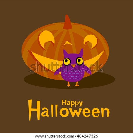Halloween greeting card with funny owl  #484247326