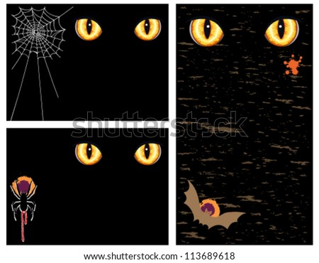 Halloween greeting cards and banner with evil eyes - set of three. Vector illustration saved as EPS AI8, no effects, gradients, easy print and edit.