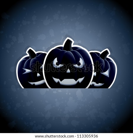 Halloween grunge background with pumpkins, illustration.