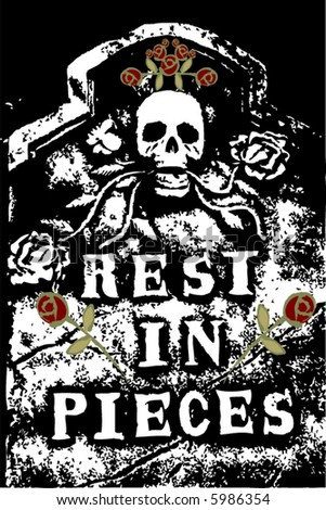 halloween grunge RIP death skull and roses (vector)