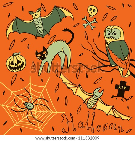 Halloween hand-drawn elements