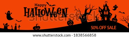 Halloween hand drawn horizontal sale banner, flyer,  poster template. Traditional halloween symbols: haunted house, ghost, bat, cemetery and handwritten lettering.  Foto stock ©
