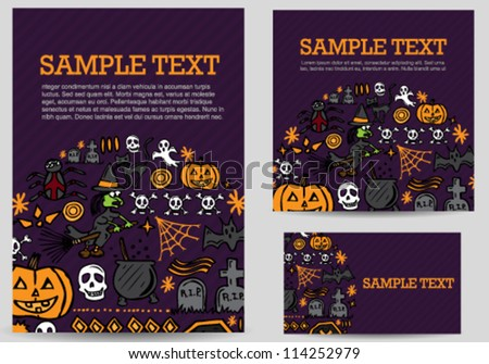 Halloween hand drawn icons card set