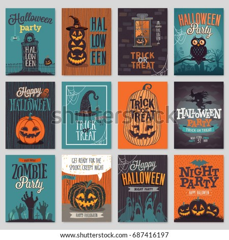 Stock Photo Halloween hand drawn invitation or greeting Cards set. Vector illustration.
