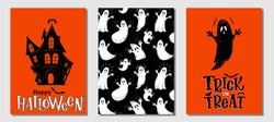 Halloween hand drawn invitation or greeting cards vector set. Traditional halloween symbols haunted house, ghost, bat and handwritten lettering. Card, party invitation, flyer, banner, poster template.
