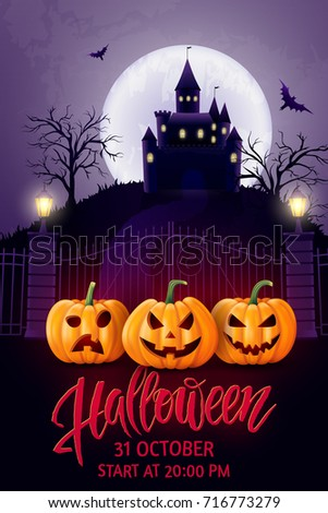 Halloween hand drawn lettering, pumpkin, castle and bat. Greeting card for party and sale. Autumn holidays. Vector illustration EPS10.