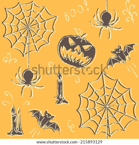 Halloween hand drawn seamless pattern with spiders and web