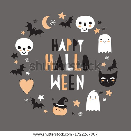 Halloween Hand Drawn Vector Illustration with Cute Pumpkin, Ghosts, Black Cat, Funny Skulls and Bats on a Dark Gray Background. Kawaii Style Decoration for Halloween Party. Happy Halloween Card.