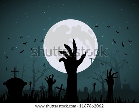 halloween hand zombie from ground on night and big moon #1167662062