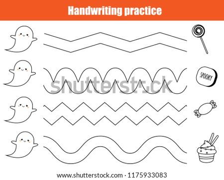 Halloween handwriting practice sheet. Educational children game, printable worksheet for kids