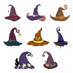 Halloween hat collection, Cap for witch. Set of magic hat elf or dwarf, horror costume to celebration halloween . Vector traditional autumn clothing, celebration evil and funny masquerade illustration