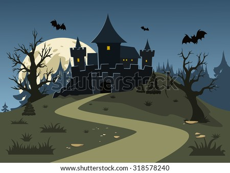 halloween haunted castle  trees
