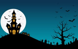 Halloween haunted house and full moon with ghost,horror night background.Vector illustration