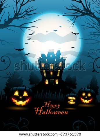Halloween haunted house background vector illustration, with place for text and moon in the sky #693761398
