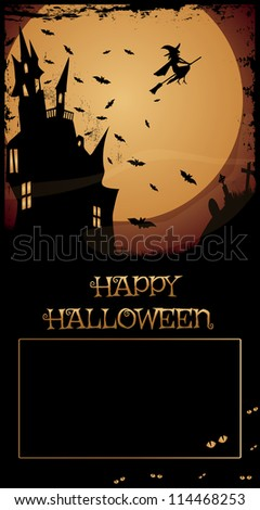 Halloween Haunted House /Night with full moon,haunted house,flying witch and bats,Happy Halloween text and copy-space