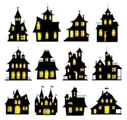 Halloween haunted house set isolated on white background. Vector illustration