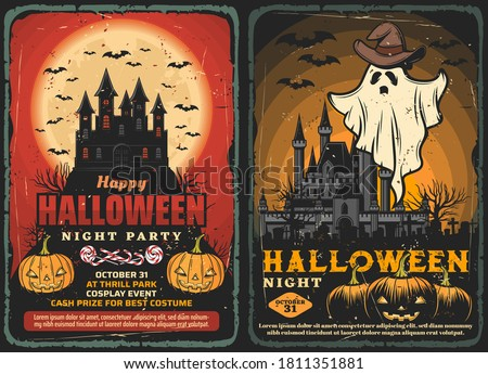 Halloween haunted houses vector design with horror night ghost and bats, pumpkins and trick or treat candies, spooky moon, graveyard and cemetery monsters. Halloween holiday party invitations Foto stock ©
