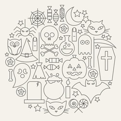 Halloween Holiday Line Icons Set Circular Shaped. Vector Illustration of Scary Autumn Sweets and Treats Objects. Graph and Infographics. October Holiday Items.