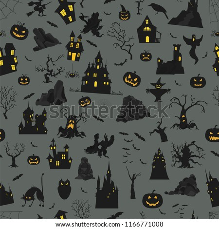 Halloween holiday seamless pattern. Flat design. Vector illustration