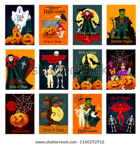 Halloween holiday trick or treat greeting card set. Halloween pumpkin lantern, spider and bat, ghost, skeleton skull and zombie, Dracula vampire and haunted house, devil, mummy and moon card design