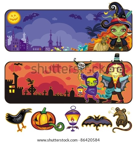 Halloween horizontal cartoon banners 2