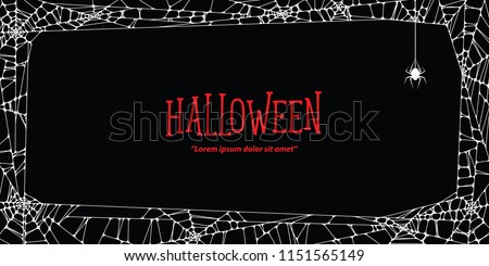 Halloween horizontal frame white cobweb and spider on black background ilustration vector. Halloween concept.
