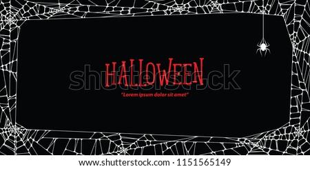 Halloween horizontal frame white cobweb and spider on black background ilustration vector. Halloween concept.