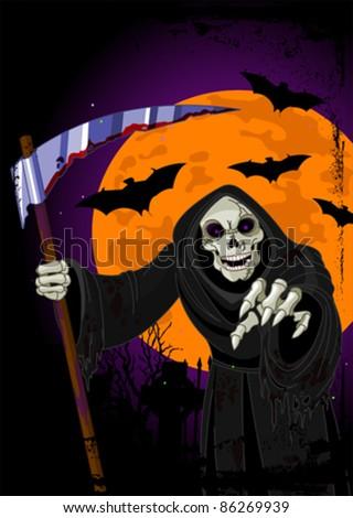 Halloween horrible Grim Reaper  background