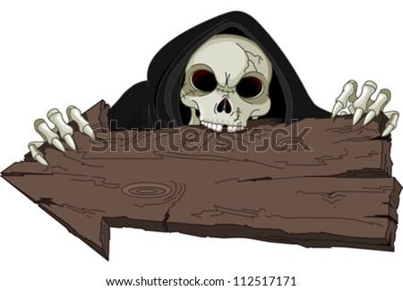 Halloween horrible Grim Reaper over arrow